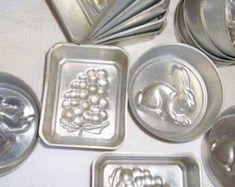 14 small Vintage aluminum Grapes or Berries and Bunny Molds