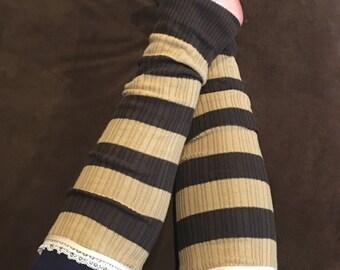 Brown Tan Striped Lace Legwarmers Boot Cuffs Boot Socks - READY TO SHIP
