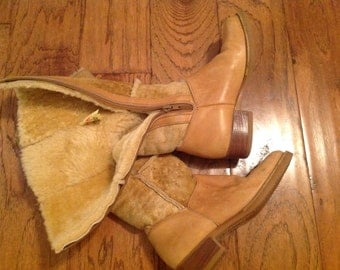 Vintage Blondo Boots ~ Winter Boots Sheepskin ~ Warm Leather Boots ~  Tan High Boots ~ Ladies Size 5 Vintage Boots ~ Winter Shoes