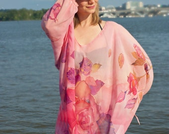 Silk Tunic Caftan Dress Hand Painted Kaftan Pink Roses Ladybug Batterflies One Size Custom Order
