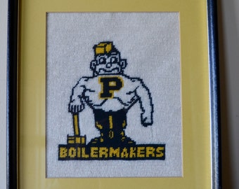 Vintage Purdue Boilermakers Needlepoint Finished Panel