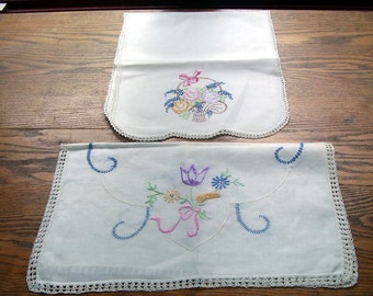 2 Vintage Hand Embroidered Dresser Scarves, Vanity scarves, Parlor Table Cloth, Old Linens, Vintage Linens, Country Cottage