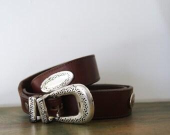 Vintage Leather Southwestern Style Ladies Belt L