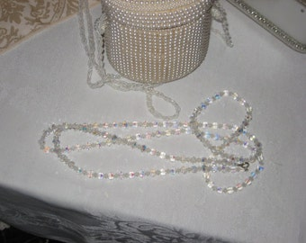 Flapper Beads/1950's Crystal Necklace Extra Long/Opera Length Beads/Vintage Crystal Necklace