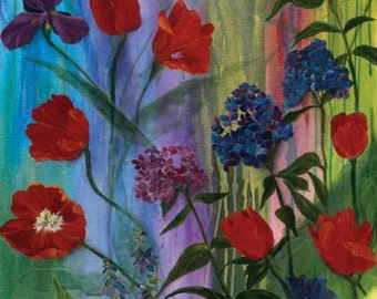 """Una's Garden Family Floral Flower Frond Fabric 23"""" Panel"""