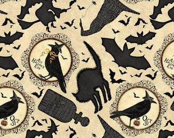 Come Sit A Spell Cream Halloween All Over Hallows Eve Wilmington Fabric Yard