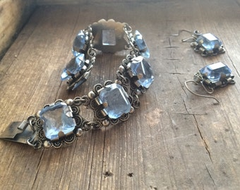 Vintage Mexican link bracelet and earring set Alpaca silver aquamarine rhinestone, Taxco jewelry, gift for Mom, birthday March birthstone