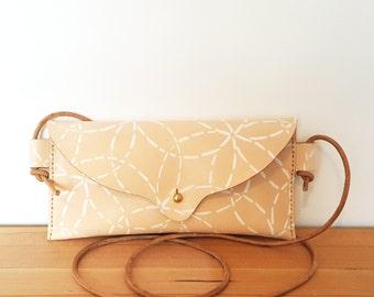 Hand Stitched Leather Mini Crossbody Bag in Mitsuba in White