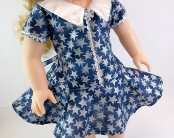 "18"" Doll Dress Fits American Girl Doll 70's Style Dress Navy with Silver Stars and Silver Collar"