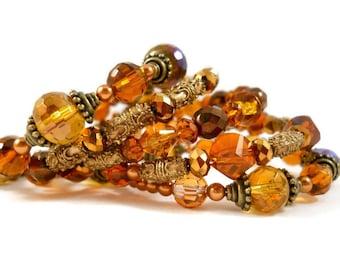 Bohemian Jewelry Amber Bracelet Bronze Bracelet Set Gypsy Boho Jewelry Layered Bracelets Stackable Bangles Autumn Bracelet Jewelry for Teens