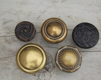 5 Salvaged Vintage Brass Copper Drawer Handles