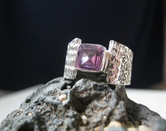 FREE SHIPPING Amethyst Sterling Silver Ring size 8