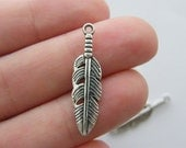 BULK 50 Feather charms antique silver tone B208