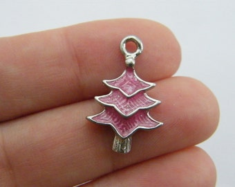 4 Christmas tree charms pink and silver tone CT119