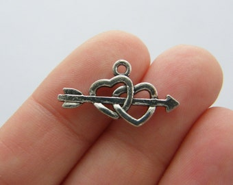 8 Hearts with arrow through it charms antique silver tone H19