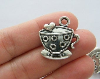 BULK 30 Cup and saucer charms antique silver tone FD350