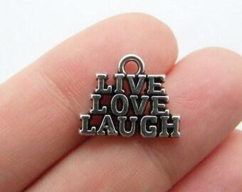 BULK 20 Live love laugh charms antique silver tone M617
