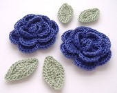 "Violet 1-3/4"" Crochet Rose Flower Embellishments w/ Leaves Handmade Scrapbooking Fashion Accessories Appliques - 6 pcs. (3640-02L)"