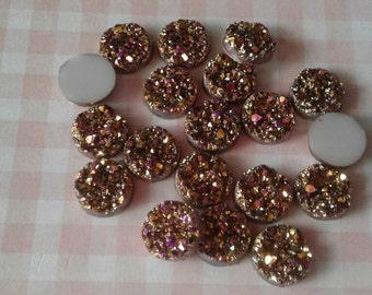 12- Gold Resin Druzy Beads 12mm - Set of 12 -Drusy Cabochon Ready to Ship , Jewelry Supplies,No Drilled Holes