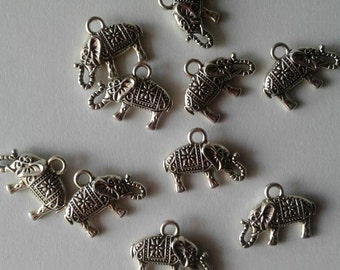 Elephant Charms, Ready to Ship,Jewelry Supplies,DIY,Set Of 10,Antique Silver Tone