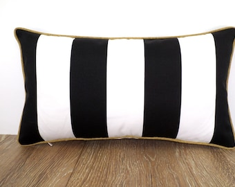 Black outdoor pillow cover, color block pillow case black and white, outdoor lumbar cover, striped outdoor cushion black and gold decor