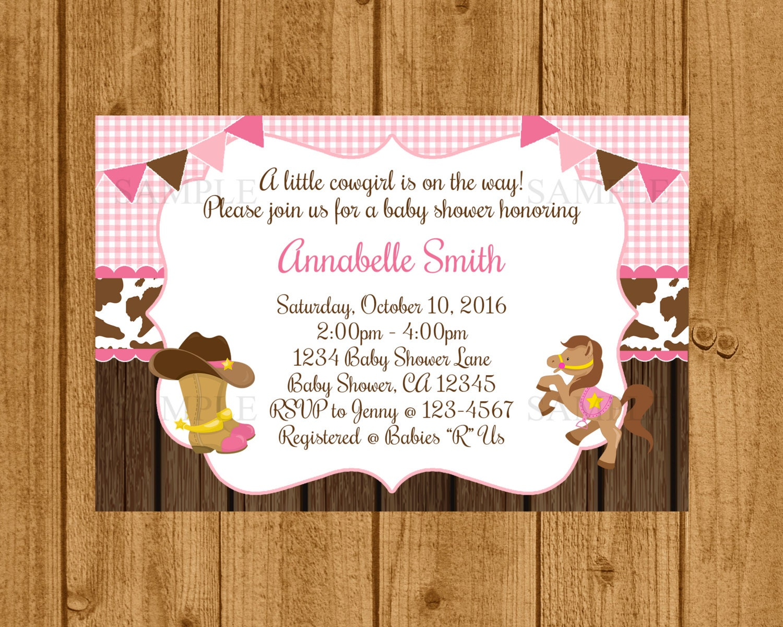 cowgirl baby shower invitation girls baby shower invitation
