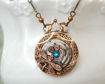 brass steampunk necklace, dragonfly necklace, PETITE ART DECO antiqued brass medallion necklace