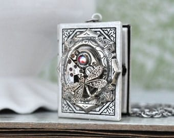 THE TIME KEEPER antiqued silver book style steampunk vintage watch movement locket necklace