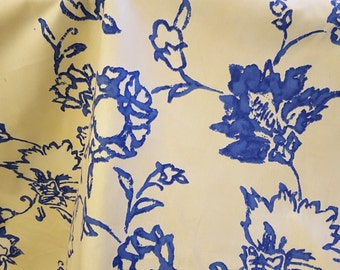 FLORAL stylized,COTTON drapery upholstery fabric, royal blue, butter yellow, 07-43-04-0711