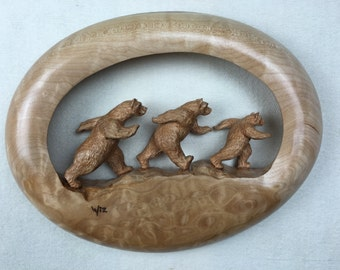 Carved Bear Wood Carving the best gift ever Wedding or Anniversary Gift by Gary Burns the treewiz handmade woodworking