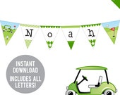 INSTANT DOWNLOAD Golf Party - DIY printable pennant banner - Includes all letters, plus ages 1-19