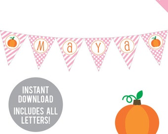 INSTANT DOWNLOAD Pink Pumpkin Party - DIY printable pennant banner - Includes all letters, plus ages 1-18