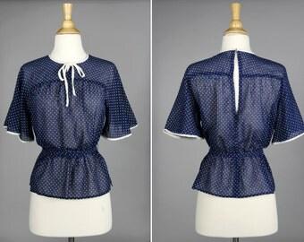 Vintage Swiss Dot Sweetheart Blouse-  Polka Dot Blue White 1950s Shirt Flutter Bowtie Bow Peplum- Size Small or Medium S M