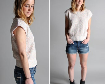 FINAL SALE Vintage Pastel Summer Crop Top - Sweater Knit White Boxy Dolman 1980's Rib Pink - Size Small or Medium S M