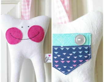Tooth Fairy Pillow for a Girl (laughlovequilt)-READY TO SHIP