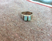Vintage Sterling Silver Signed Opal Coral inlay Ring