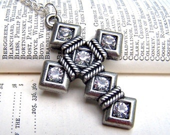 Religious Jewelry Cross Jewelry Silver Cross Necklace Vintage Inspired Neo Victorian