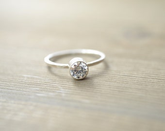 Cubic Zirconia Stacking Ring - Sterling Silver with 5mm CZ