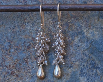 CZ and Sterling Silver Drop Chandelier earrings Dangle EARRINGS champaign color