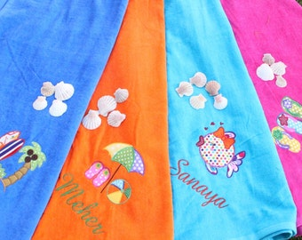 Beach Towels Embroidered Personalized Velour bright colors
