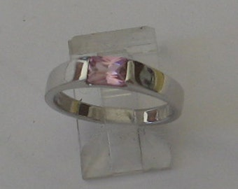 SALE Size 7 Rectangular Pink Stone Sterling Silver Ring