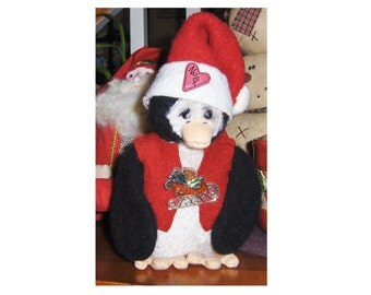 """artist collectable 7"""" Holiday Penguin  Jingle, hand sewn, jointed wings OOAK"""