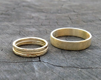 Ancient Style // His and Hers. Set of 2. Man - Rough and Gentle Gold Wedding Band. Woman - Gold Wedding Collection. Hand Made. Recycled 14K.