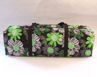Carrying Case for the Silhouette Cameo  or the Cricut Expression Machine  / Scrapbooking Tote / Lime Green and Black Large Flower Print