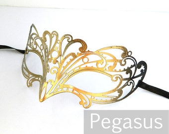 Gold Black Sparrow lace Patterned Venetian Filigree Scroll work Metal Masquerade Mask (5 color options) Lightweight Laser Cut flexible