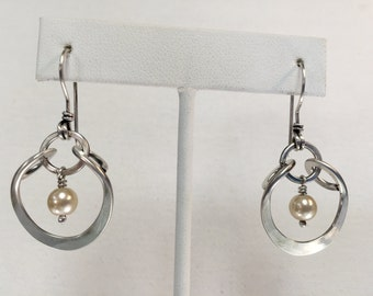 Sterling Silver Hand Wrought Horseshoe Earrings