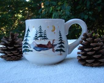 Moose on Vacation!! on a Beautifully Curved Ceramic Coffee Mug