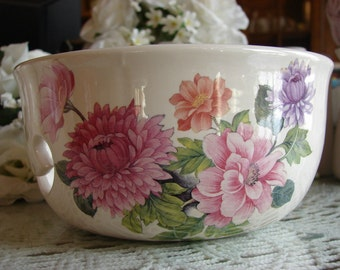 Brightly Colored Pink & Lavender Mums Ceramic Yarn Bowl / Yarn Holder