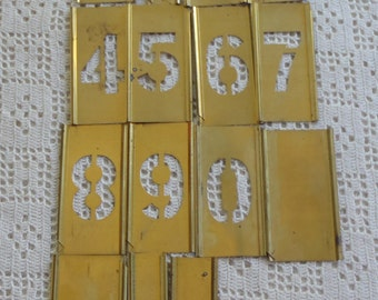 Vintage Stencils Reese's Adjustable Lockedge Numbers Brass 15 Pc.