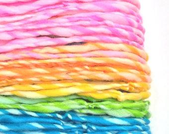 Bulky self striping pastel rainbow yarn, 70 yards, 2.35 ounces and 68 grams, handspun in merino wool